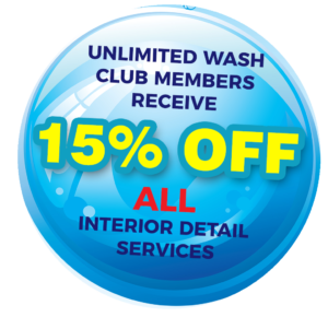 15% off detail services for unlimited wash club members